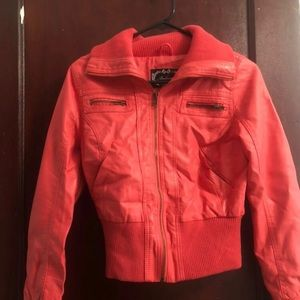 Coral Faux Leather Jacket